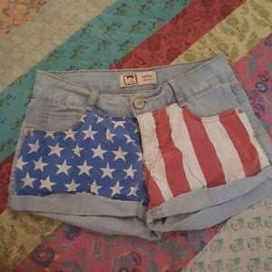stretchy denim American flag shorts